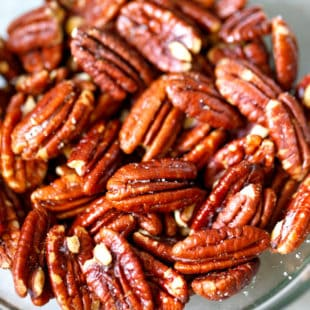A glass bowl with Air Fryer pecans