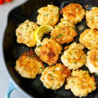 Le Creuset pan with chicken fritters inside