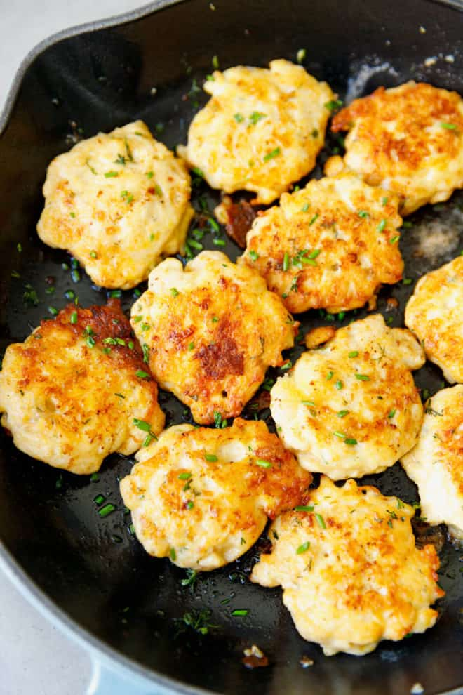Chicken fritters in a pan