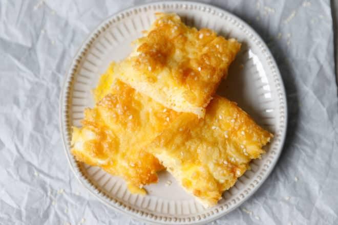 Square slices of Keto banitsa on a plate