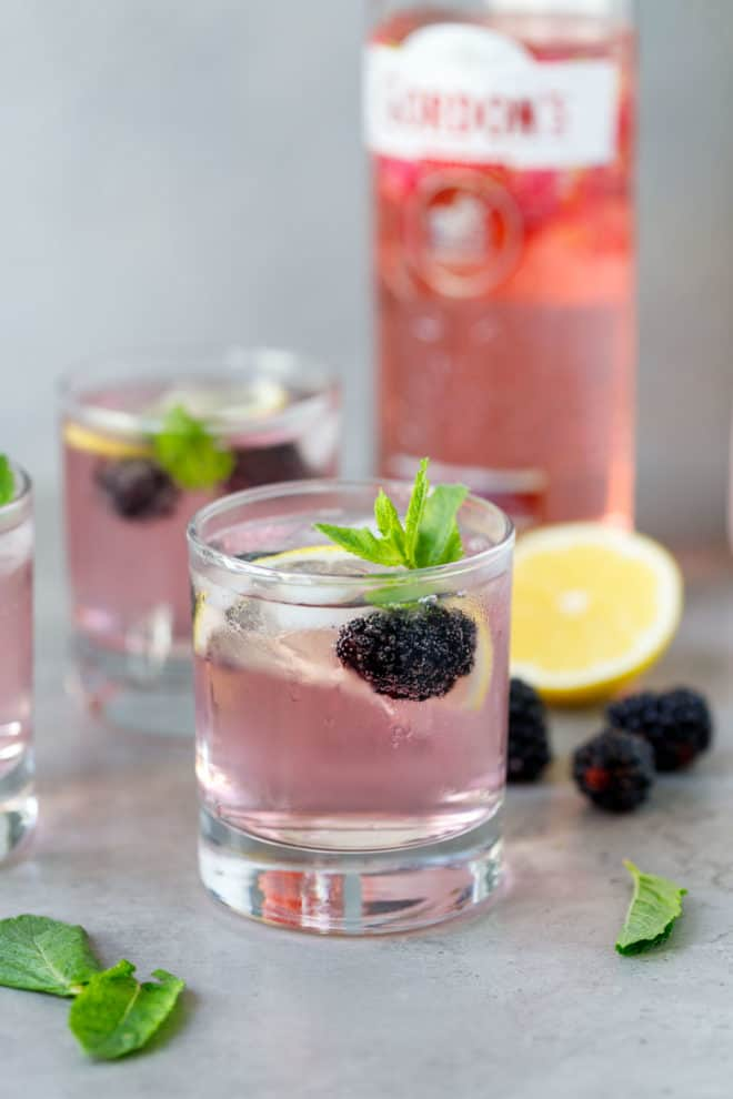 Two glasses with pink gin and tonic
